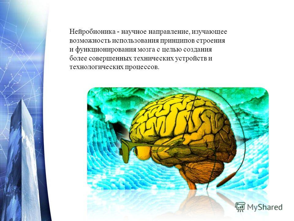 Нейробионика - научное направление, изучающее возможность использования принципов строения и функционирования мозга с целью создания более совершенных технических устройств и технологических процессов.