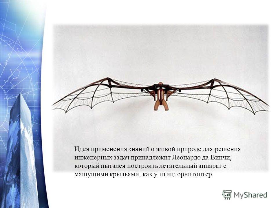 Идея применения знаний о живой природе для решения инженерных задач принадлежит Леонардо да Винчи, который пытался построить летательный аппарат с машущими крыльями, как у птиц: орнитоптер