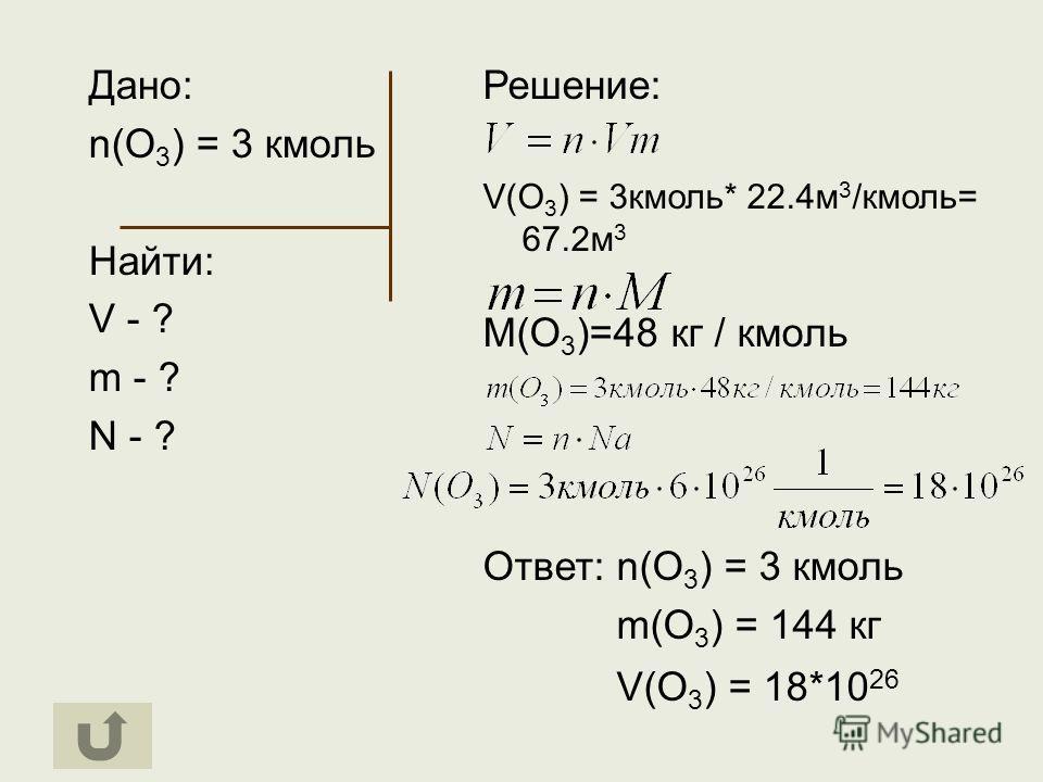 Дано: n(O 3 ) = 3 кмоль Найти: V - ? m - ? N - ? Решение: V(O 3 ) = 3кмоль* 22.4м 3 /кмоль= 67.2м 3 М(О 3 )=48 кг / кмоль Ответ: n(O 3 ) = 3 кмоль m(O 3 ) = 144 кг V(O 3 ) = 18*10 26