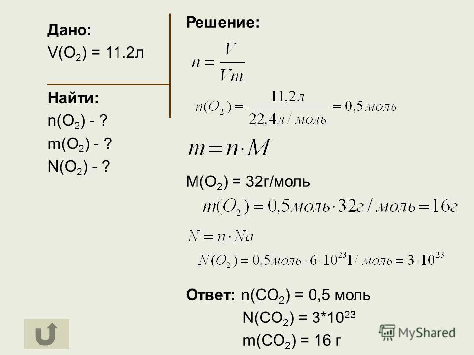 Дано: V(O 2 ) = 11.2л Найти: n(O 2 ) - ? m(O 2 ) - ? N(O 2 ) - ? Решение: M(O 2 ) = 32г/моль Ответ: n(CO 2 ) = 0,5 моль N(CO 2 ) = 3*10 23 m(CO 2 ) = 16 г