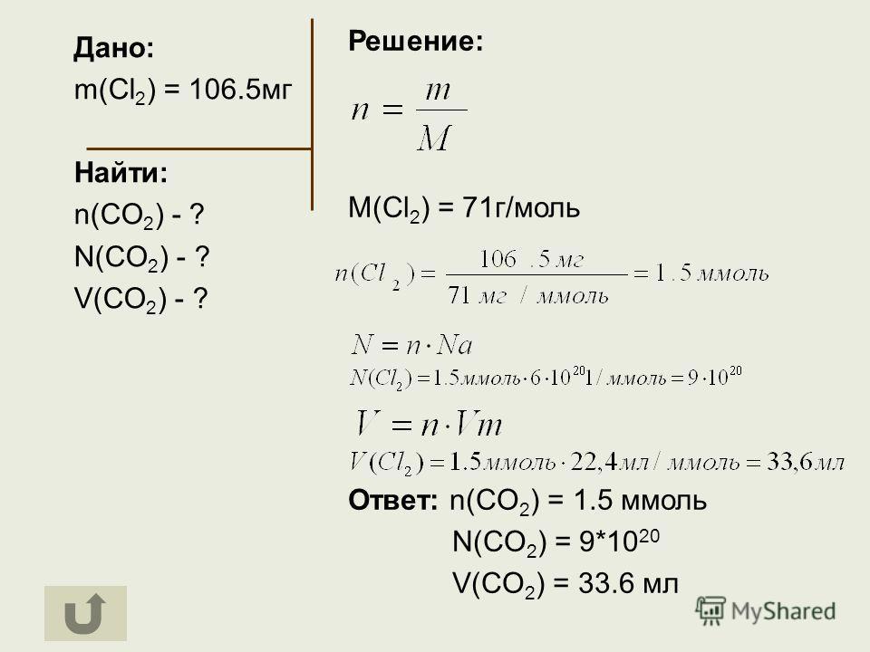 Дано: m(Cl 2 ) = 106.5мг Найти: n(CO 2 ) - ? N(CO 2 ) - ? V(CO 2 ) - ? Решение: M(Cl 2 ) = 71г/моль Ответ: n(CO 2 ) = 1.5 ммоль N(CO 2 ) = 9*10 20 V(CO 2 ) = 33.6 мл