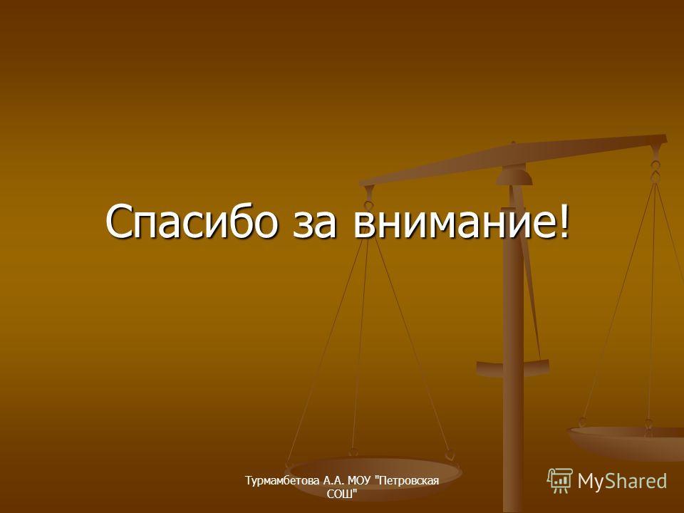 Турмамбетова А.А. МОУ Петровская СОШ Спасибо за внимание!
