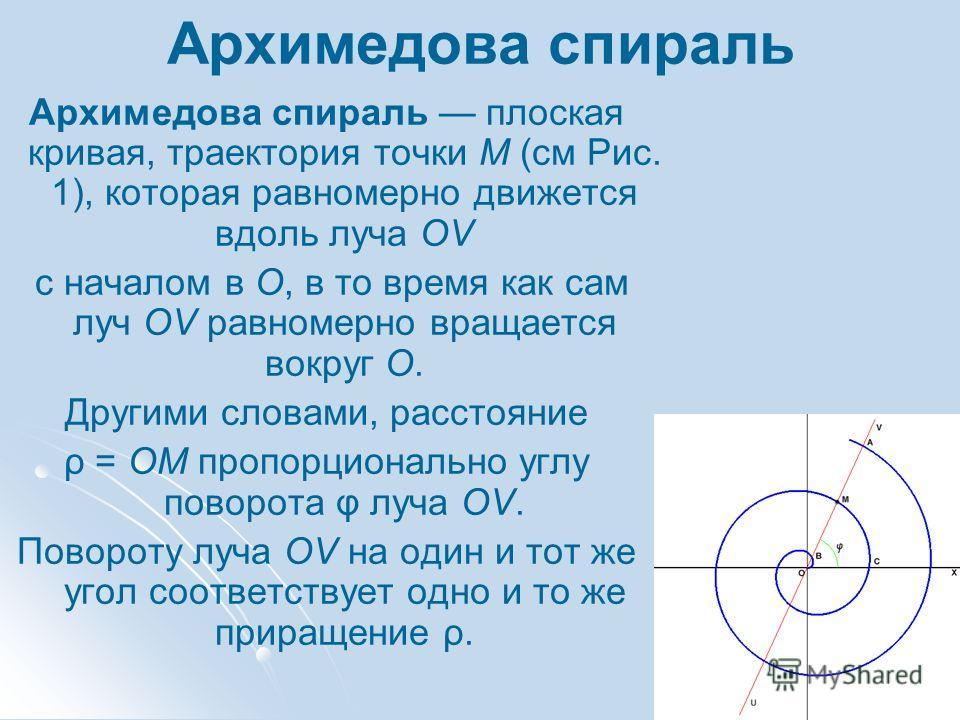 Архимедова спираль Архимедова спираль плоская кривая, траектория точки M (см Рис. 1), которая равномерно движется вдоль луча OV с началом в O, в то время как сам луч OV равномерно вращается вокруг O. Другими словами, расстояние ρ = OM пропорционально