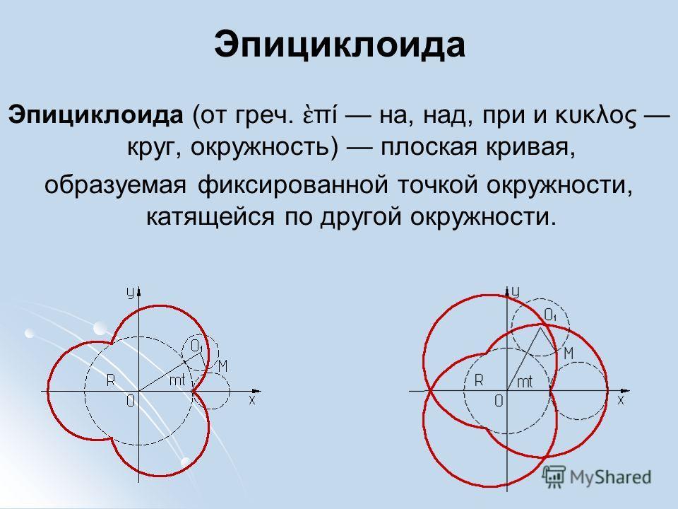 Эпициклоида Эпициклоида (от греч. πί на, над, при и κυκλος круг, окружность) плоская кривая, образуемая фиксированной точкой окружности, катящейся по другой окружности.