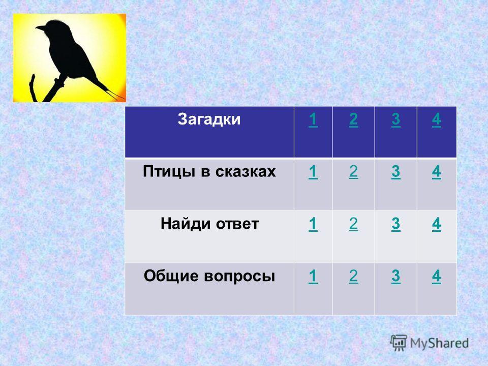 Загадки1234 Птицы в сказках1234 Найди ответ1234 Общие вопросы1234
