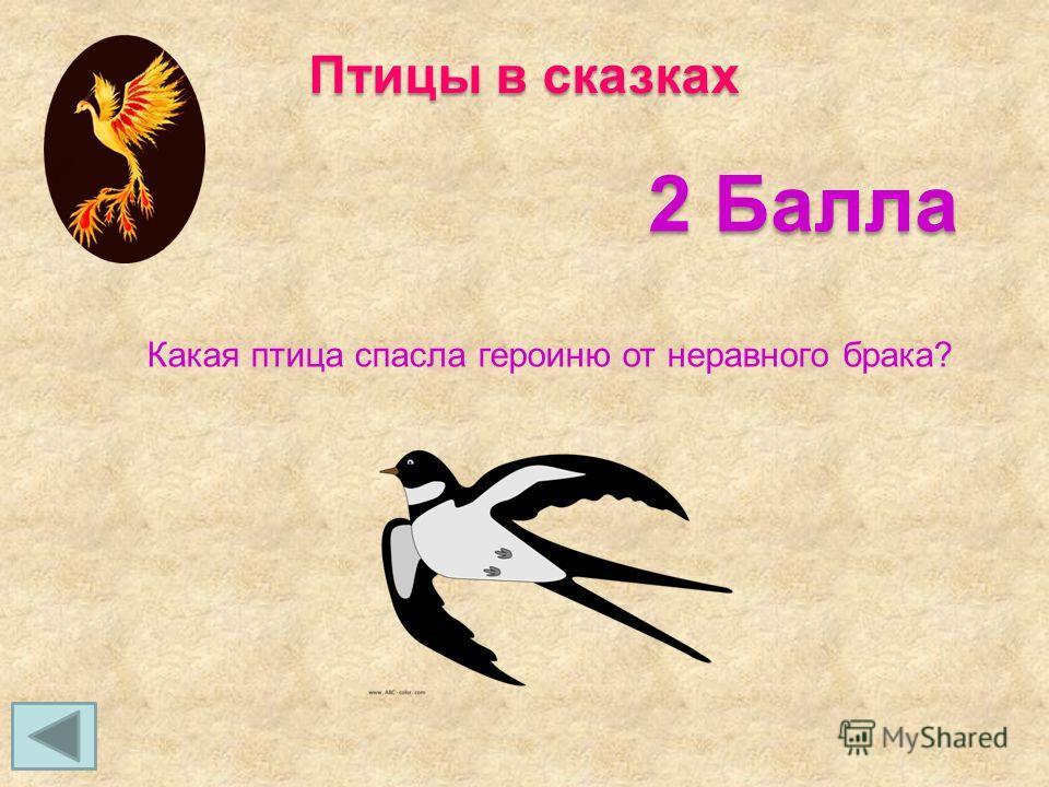 Птицы в сказках 2 Балла Какая птица спасла героиню от неравного брака?