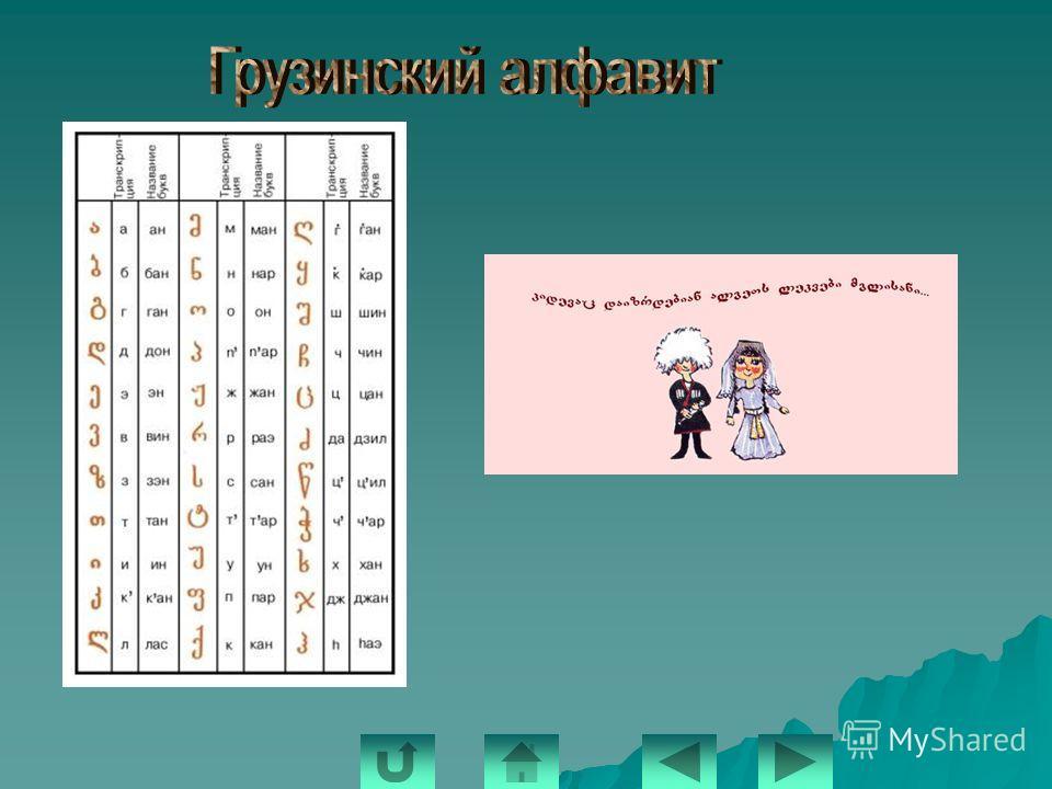 По-разному разные народы записывают свою речь. Большинство народов используют алфавит, состоящий из букв. Латинский алфавит и нашу родную кириллицу вы хорошо знаете. А вот так выглядят буквы армянского алфавита: