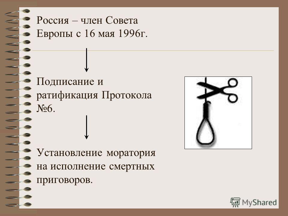 Россия – член Совета Европы с 16 мая 1996г. Подписание и ратификация Протокола 6. Установление моратория на исполнение смертных приговоров.