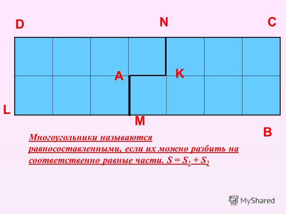 А D C B K L M N Многоугольники называются равносоставленными, если их можно разбить на соответственно равные части. S = S 1 + S 2