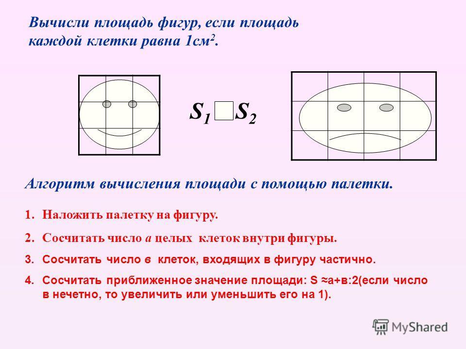 Вычисли площадь фигур, если площадь каждой клетки равна 1см 2. Алгоритм вычисления площади с помощью палетки. 1.Наложить палетку на фигуру. 2.Сосчитать число а целых клеток внутри фигуры. 3.Сосчитать число в клеток, входящих в фигуру частично. 4.Сосч