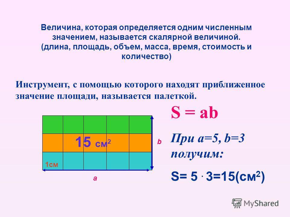 Величина, которая определяется одним численным значением, называется скалярной величиной. (длина, площадь, объем, масса, время, стоимость и количество) а b 1см Инструмент, с помощью которого находят приближенное значение площади, называется палеткой.