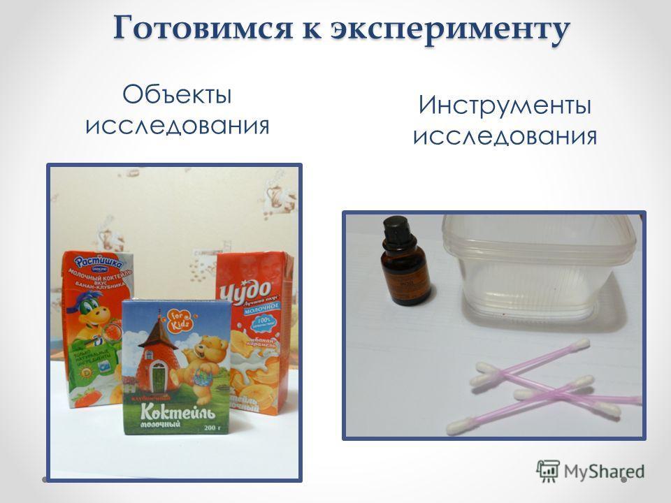 Готовимся к эксперименту Объекты исследования Инструменты исследования
