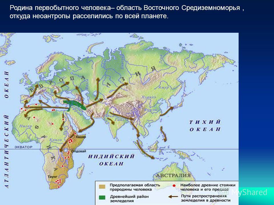 Родина первобытного человека– область Восточного Средиземноморья, откуда неоантропы расселились по всей планете.