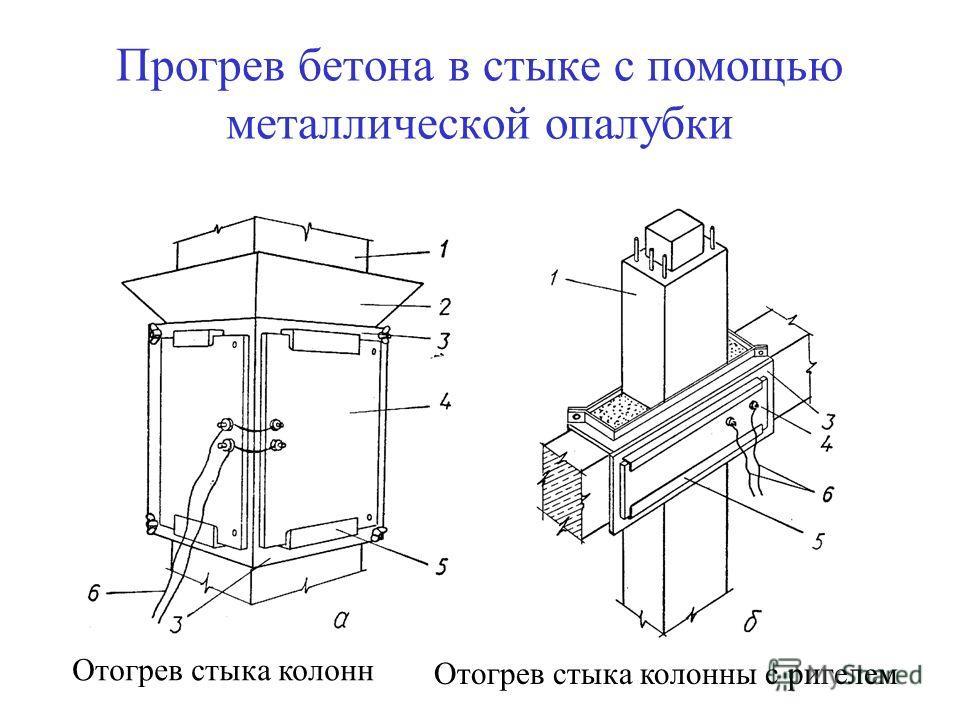 Прогрев бетона в стыке с помощью металлической опалубки Отогрев стыка колонн Отогрев стыка колонны с ригелем