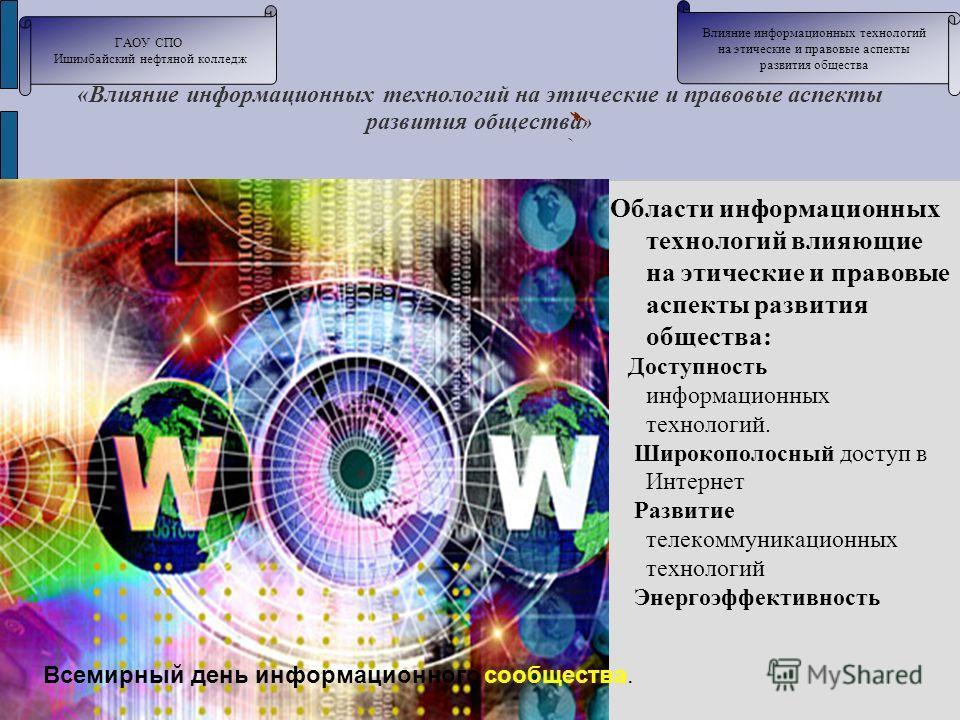 «Влияние информационных технологий на этические и правовые аспекты развития общества » Области информационных технологий влияющие на этические и правовые аспекты развития общества: Доступность информационных технологий. Широкополосный доступ в Интерн