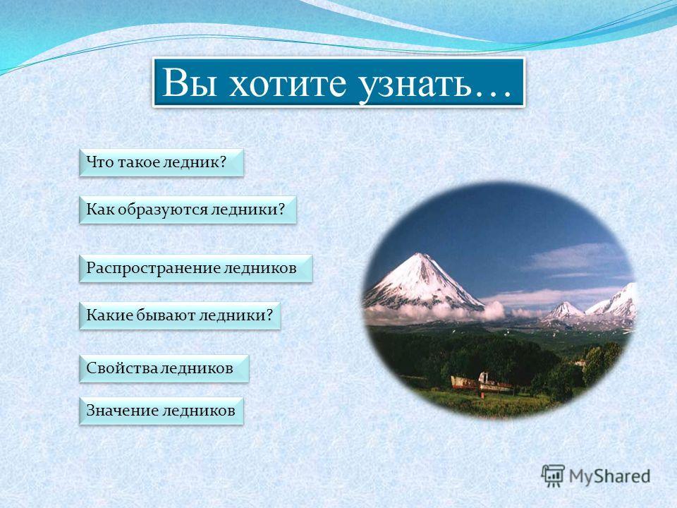Вы хотите узнать… Что такое ледник? Как образуются ледники? Значение ледников Какие бывают ледники? Распространение ледников Свойства ледников
