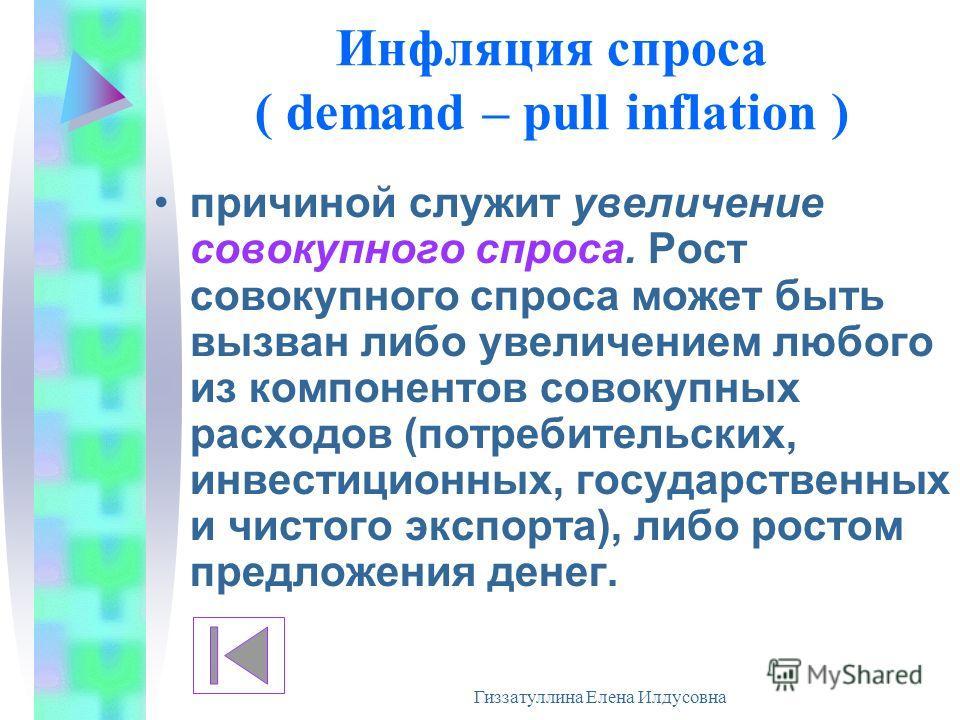 Гиззатуллина Елена Илдусовна Инфляция спроса ( demand – pull inflation ) причиной служит увеличение совокупного спроса. Рост совокупного спроса может быть вызван либо увеличением любого из компонентов совокупных расходов (потребительских, инвестицион