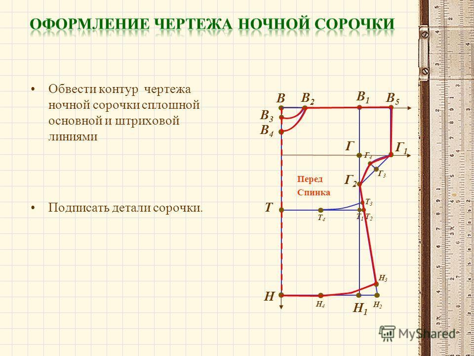 Обвести контур чертежа ночной сорочки сплошной основной и штриховой линиями В В1В1 Н Н1Н1 В2В2 В3В3 В4В4 Г В5В5 Г1Г1 Г2Г2 Г3Г3 Г4Г4 Н2Н2 Н3Н3 Н4Н4 Т Т1Т1 Т2Т2 Т3Т3 Т4Т4 Подписать детали сорочки. Перед Спинка