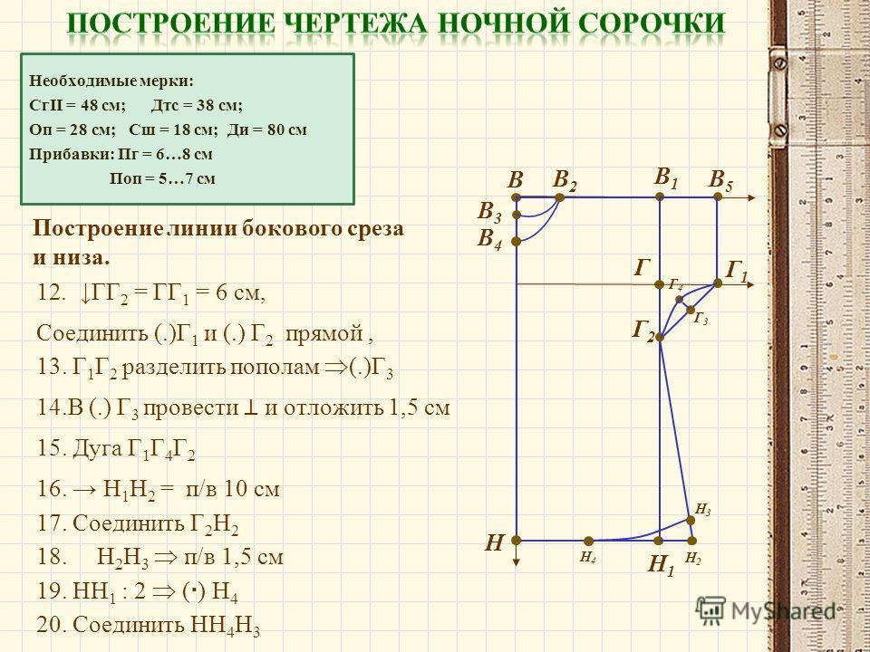 Необходимые мерки: СгII = 48 см; Дтс = 38 см; Оп = 28 см; Сш = 18 см; Ди = 80 см Прибавки: Пг = 6…8 см Поп = 5…7 см Построение линии бокового среза и низа. В В1В1 Н Н1Н1 В2В2 В3В3 В4В4 Г В5В5 Г1Г1 13. Г 1 Г 2 разделить пополам (.)Г 3 12.ГГ 2 = ГГ 1 =