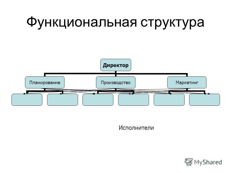 Функциональная структура Директор ПланированиеПроизводствоМаркетинг Исполнители