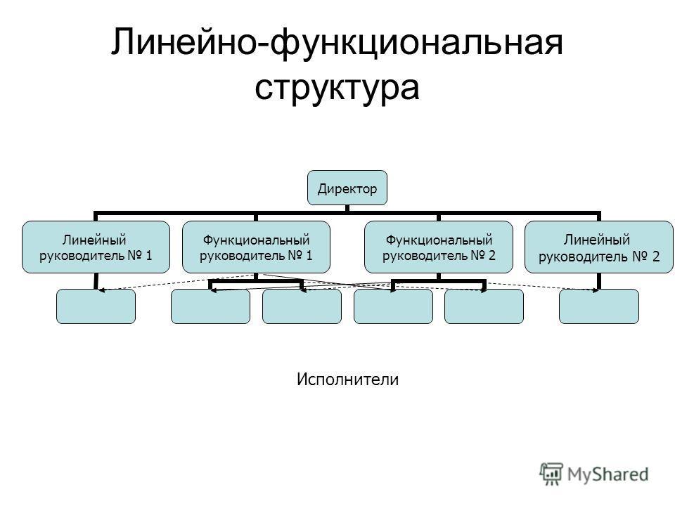 Линейно-функциональная структура Директор Линейный руководитель 1 Функциональный руководитель 1 Функциональный руководитель 2 Линейный руководитель 2 Исполнители