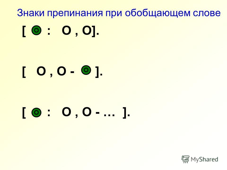 [ : O, O]. Знаки препинания при обобщающем слове [ O, O - ]. [ : O, O - … ].