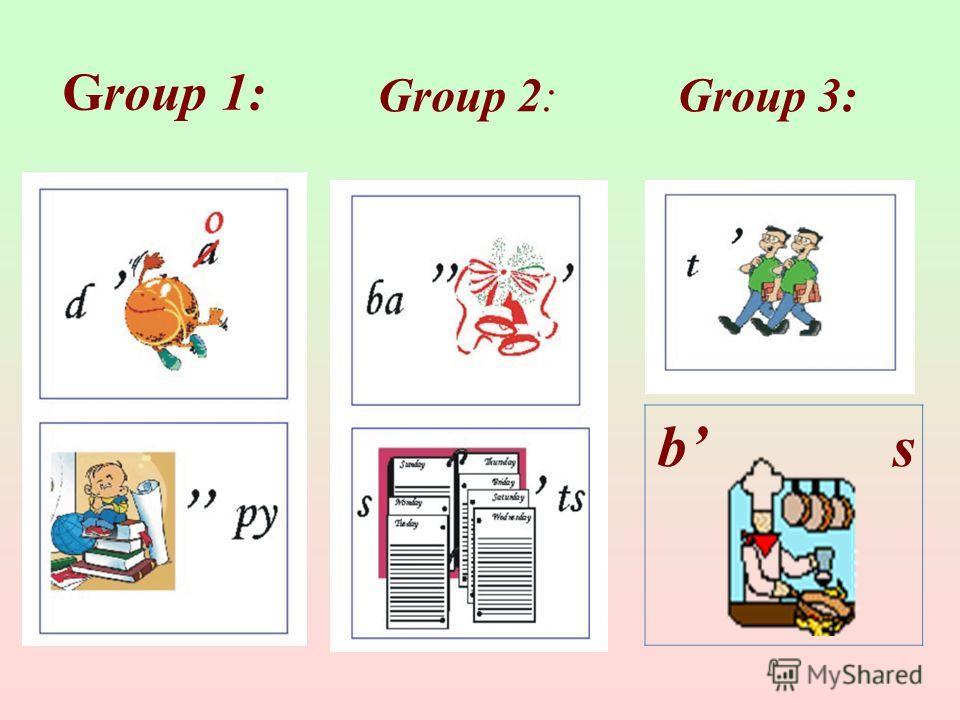 b s Group 3:Group 2: Group 1: