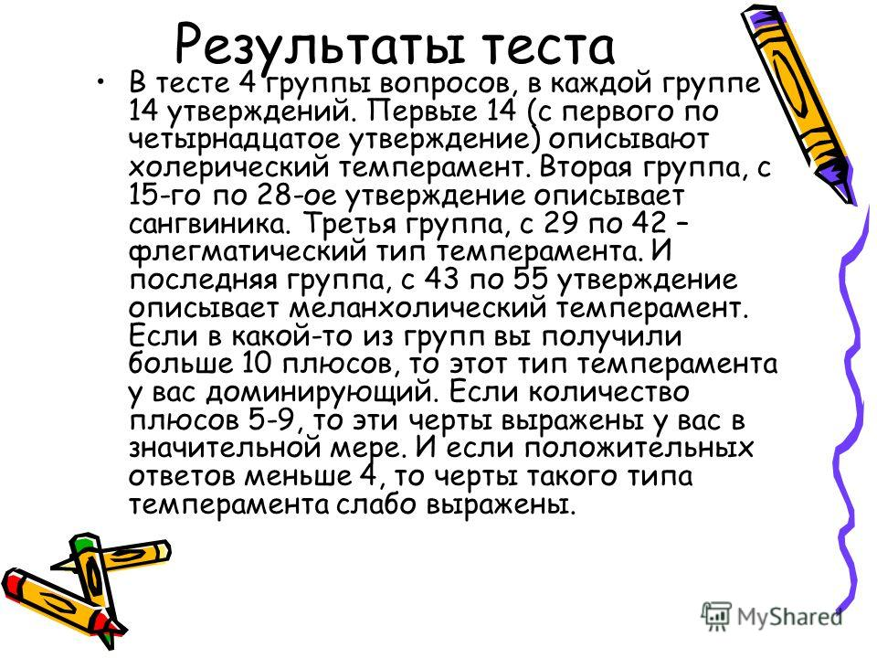 Результаты теста В тесте 4 группы вопросов, в каждой группе 14 утверждений. Первые 14 (с первого по четырнадцатое утверждение) описывают холерический темперамент. Вторая группа, с 15-го по 28-ое утверждение описывает сангвиника. Третья группа, с 29 п