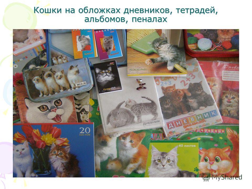 Кошки на обложках дневников, тетрадей, альбомов, пеналах