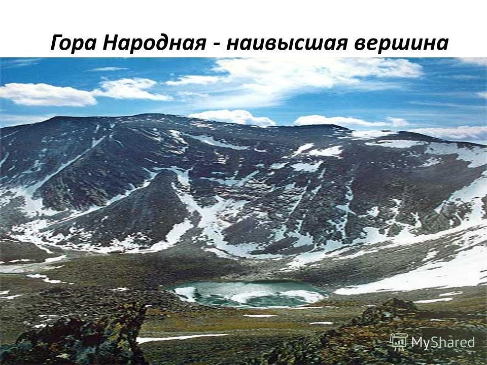 Гора Народная - наивысшая вершина (1895 м) Урала. Открыта геологом А. Н. Алешковым в 1927 году Сама гора ничем, кроме своей высоты, не выделяется на фоне окружающих её гор Приполярного Урала. Характеризуется наличием карров и цирков, в глубине которы