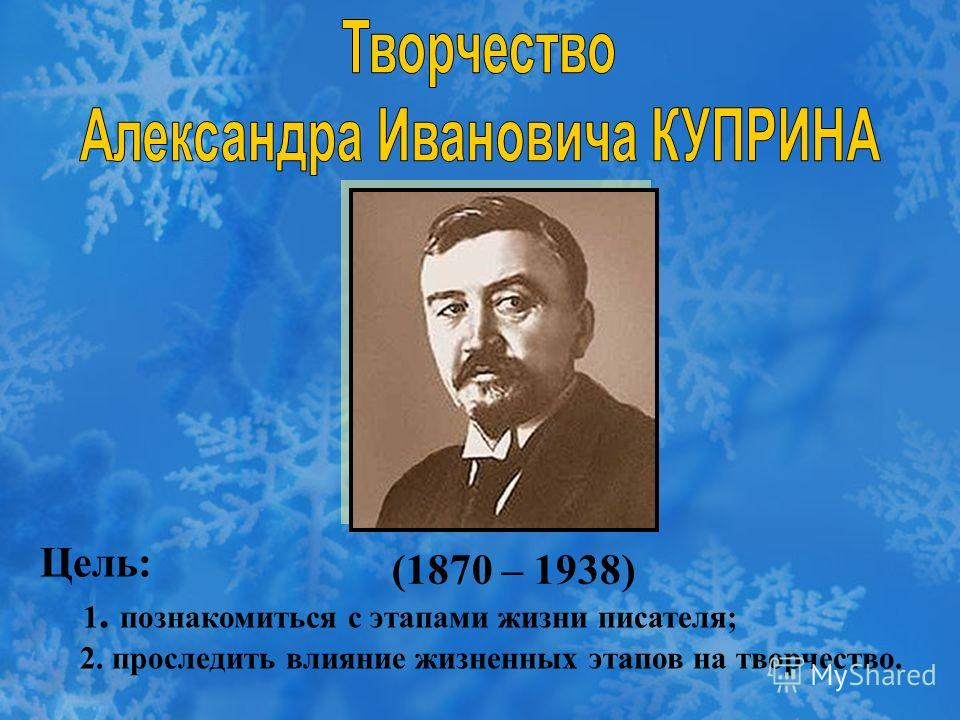 (1870 – 1938) Цель: 1. познакомиться с этапами жизни писателя; 2. проследить влияние жизненных этапов на творчество.