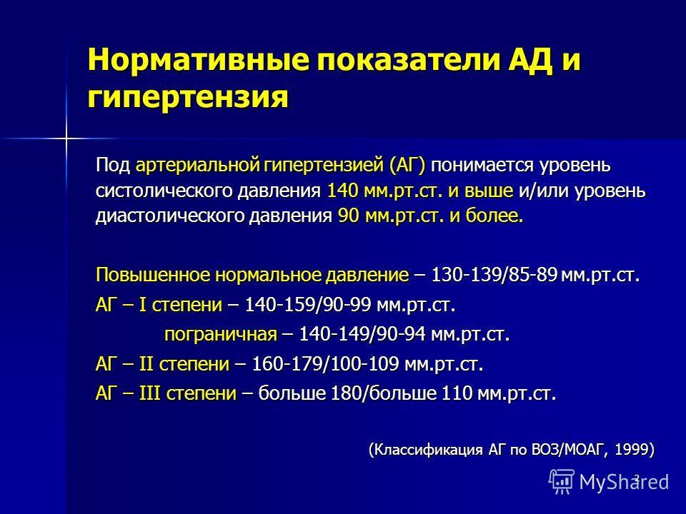 2 Нормативные показатели АД и гипертензия Под артериальной гипертензией (АГ) понимается уровень систолического давления 140 мм.рт.ст. и выше и/или уровень диастолического давления 90 мм.рт.ст. и более. Повышенное нормальное давление – 130-139/85-89 м