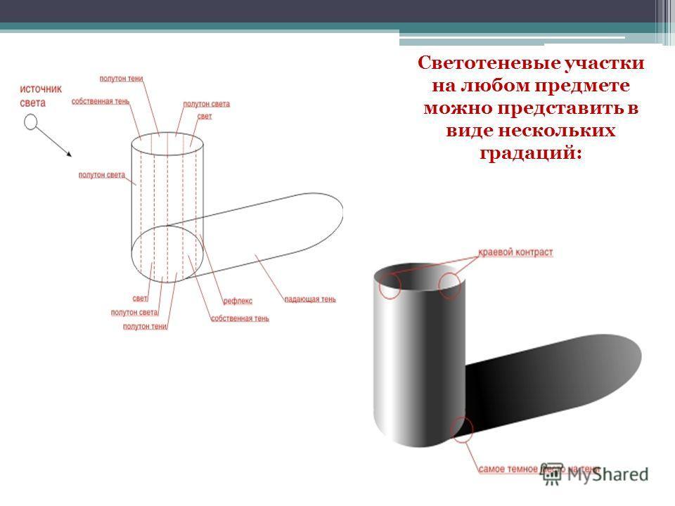 Светотеневые участки на любом предмете можно представить в виде нескольких градаций: