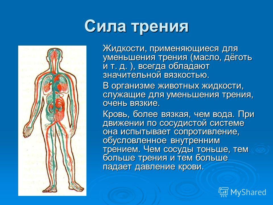 Сила трения Жидкости, применяющиеся для уменьшения трения (масло, дёготь и т. д. ), всегда обладают значительной вязкостью. В организме животных жидкости, служащие для уменьшения трения, очень вязкие. Кровь, более вязкая, чем вода. При движении по со