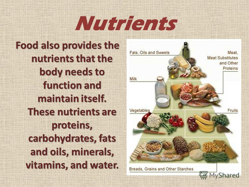 Nutrients Food also provides the nutrients that the body needs to function and maintain itself. These nutrients are proteins, carbohydrates, fats and oils, minerals, vitamins, and water.