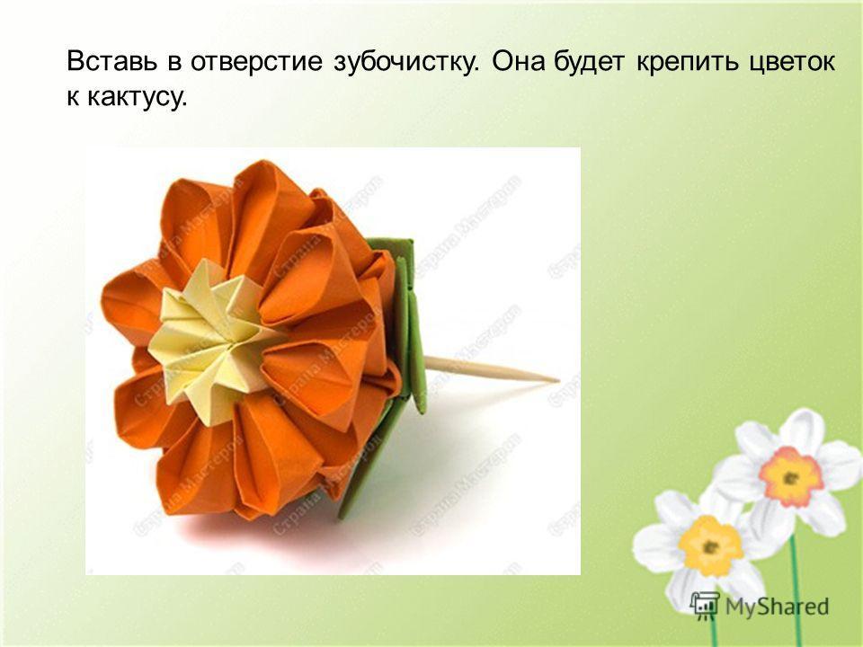 Вставь в отверстие зубочистку. Она будет крепить цветок к кактусу.