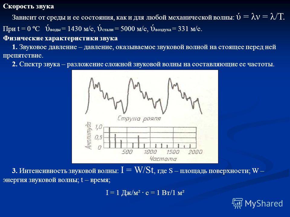 Скорость звука Зависит от среды и ее состояния, как и для любой механической волны: ύ = λν = λ/Т. При t = 0 ºC ύ воды = 1430 м/с, ύ стали = 5000 м/с, ύ воздуха = 331 м/с. Физические характеристики звука 1. Звуковое давление – давление, оказываемое зв