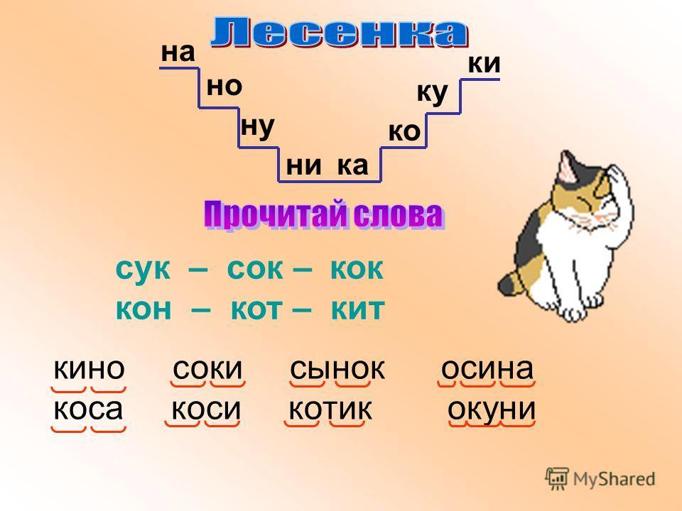 сук – сок – кок кон – кот – кит на но ну ника ко ку ки кино соки сынок осина коса коси котик окуни