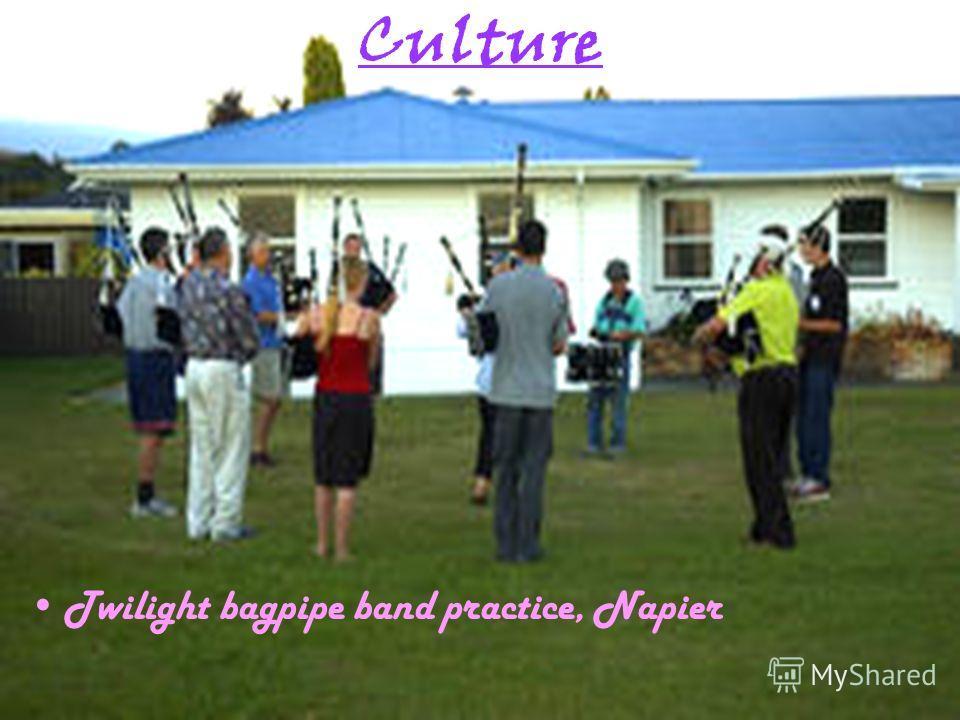 Culture Twilight bagpipe band practice, Napier