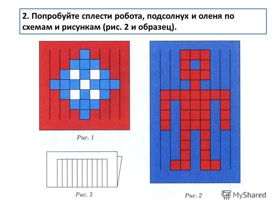 2. Попробуйте сплести робота, подсолнух и оленя по схемам и рисункам (рис. 2 и образец).