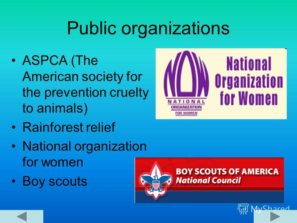 Public organizations ASPCA (The American society for the prevention cruelty to animals) Rainforest relief National organization for women Boy scouts