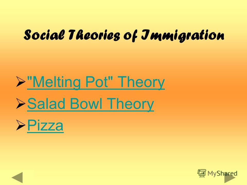 Social Theories of Immigration Melting Pot Theory Salad Bowl Theory Pizza