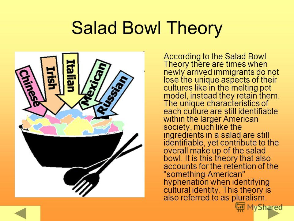 Salad Bowl Theory According to the Salad Bowl Theory there are times when newly arrived immigrants do not lose the unique aspects of their cultures like in the melting pot model, instead they retain them. The unique characteristics of each culture ar