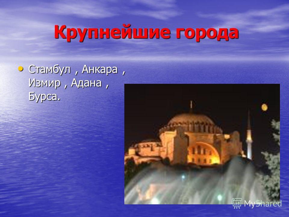 Крупнейшие города Крупнейшие города Стамбул, Анкара, Измир, Адана, Бурса. Стамбул, Анкара, Измир, Адана, Бурса.