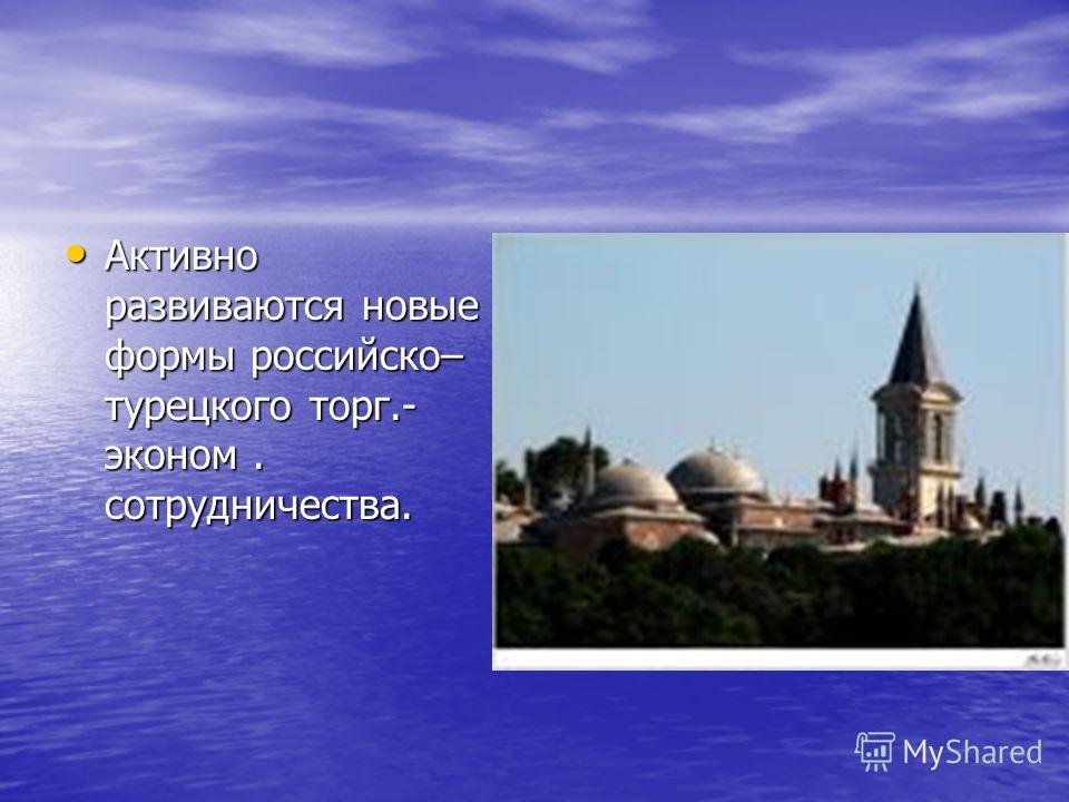 Активно развиваются новые формы российско– турецкого торг.- эконом. сотрудничества. Активно развиваются новые формы российско– турецкого торг.- эконом. сотрудничества.