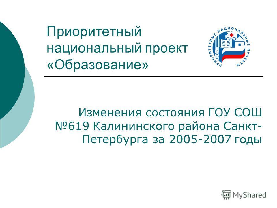 Приоритетный национальный проект «Образование» Изменения состояния ГОУ СОШ 619 Калининского района Санкт- Петербурга за 2005-2007 годы