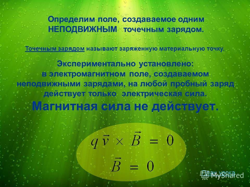 Экспериментально установлено: в электромагнитном поле, создаваемом неподвижными зарядами, на любой пробный заряд действует только электрическая сила. Магнитная сила не действует. Определим поле, создаваемое одним НЕПОДВИЖНЫМ точечным зарядом. Точечны
