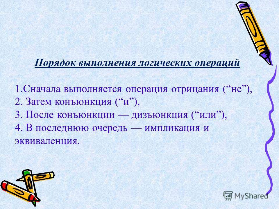 Порядок выполнения логических операций 1.Сначала выполняется операция отрицания (не), 2. Затем конъюнкция (и), 3. После конъюнкции дизъюнкция (или), 4. В последнюю очередь импликация и эквиваленция.