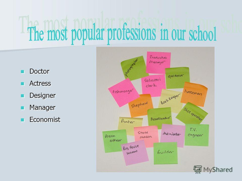 Doctor Doctor Actress Actress Designer Designer Manager Manager Economist Economist