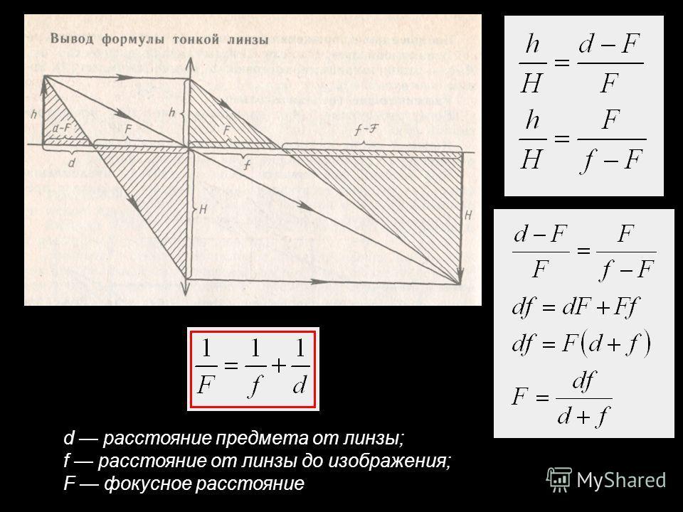 d расстояние предмета от линзы; f расстояние от линзы до изображения; F фокусное расстояние